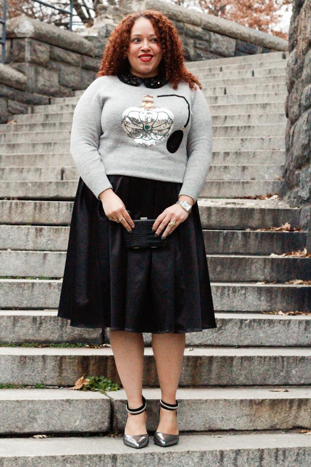 e39d01d733acd Sweater   Collar (similar) - H M  Skirt - Eloquii  Shoes - Lane Bryant  Purse  (similar) - Forever 21