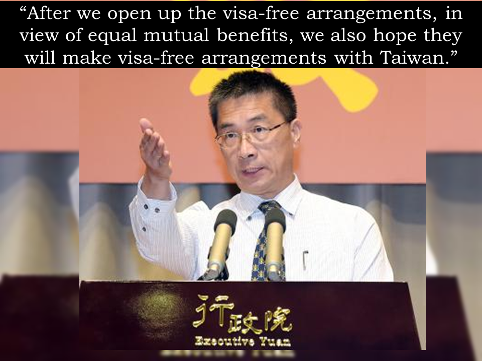 "Taiwan will finally allow visa-free entry for Filipinos in hopes that the country will reciprocate the gesture, a spokesman for the self-ruled island's cabinet said in a Reuters report.  The Philippines recognizes the ""one China"" policy under which Manila acknowledges the Chinese position that there is only one China and Taiwan is part of it. There is no existing diplomatic relationship between the Taiwan and the Philippines and yet, Taiwan is giving the visa-free privilege.  The visa-free policy will take effect as decided by its foreign ministry. The spokesman of Taiwan's executive yuan Hsu Kuo-yung said that it is more likely to take effect in October or November.  Taiwan's visa-free policy for the Philippines was earlier announced early this year, but was later postponed. Sponsored Links Taiwan already has visa-free arrangements with Australia, Malaysia, New Zealand and Singapore. The government is continuing this year with a pilot scheme with Brunei and Thailand kicked off last year.  It is also considering visa-free arrangements with Indonesia and Vietnam, according to a government document seen by Reuters. A government spokesman did not immediately answer telephone calls from Reuters to seek comment on the Indonesia and Vietnam plans.Source: Reuters  Taiwan will allow visa-free entry for visitors from the Philippines in hopes that the country will reciprocate the gesture, a spokesman for the self-ruled island's cabinet said on Thursday. Taiwan does not have formal diplomatic relations with the Philippines, which recognizes the ""one China"" policy under which Manila acknowledges the Chinese position that there is only one China and Taiwan is part of it. China considers Taiwan a renegade province to be taken back by force, if necessary. Whether the visa-free policy takes effect in October or November is to be decided by the foreign ministry, said Hsu Kong-yung, the spokesman of Taiwan's executive yuan, or cabinet. ""After we open up the visa-free arrangements, in view of equal mutual benefits, we also hope they will make visa-free arrangements with Taiwan,"" he told a news conference. Taiwan's visa-free policy for the Philippines was earlier announced to begin in June this year, but was later postponed. Sponsored Links Taiwan already has visa-free arrangements with Australia, Malaysia, New Zealand and Singapore. The government is continuing this year with a pilot scheme with Brunei and Thailand kicked off last year. It is also considering visa-free arrangements with Indonesia and Vietnam, according to a government document seen by Reuters. A government spokesman did not immediately answer telephone calls from Reuters to seek comment on the Indonesia and Vietnam plans. Source: Reuters   Advertisement  READ MORE:       ©2017 THOUGHTSKOTO  Advertisement  READ MORE:       ©2017 THOUGHTSKOTO"