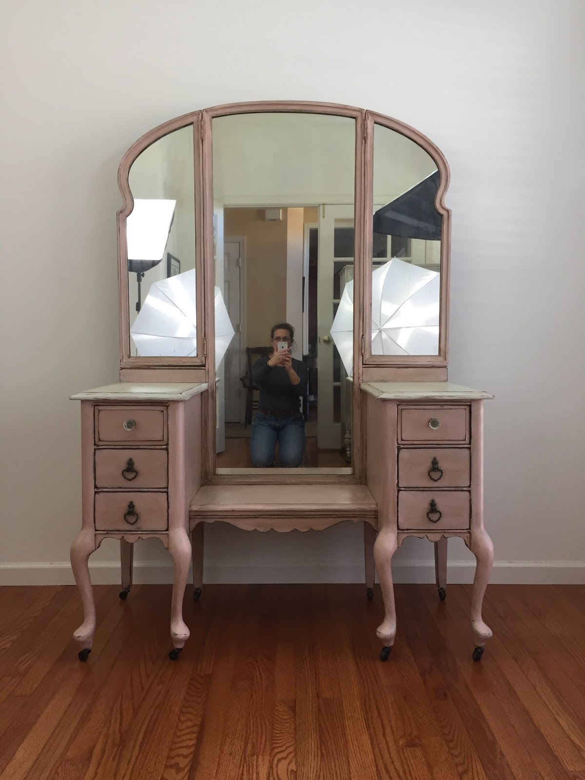 Vanity with mirrors before Photoshop