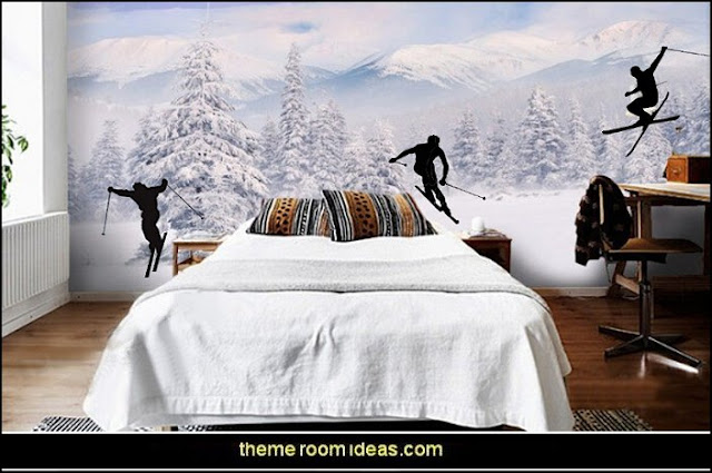 ski lodge decor - winter cabin decorating ski resort bedroom ideas - winter wall murals - ski chalet theme bedroom decorating ideas - modern rustic style winter cabin decor - Swiss alps decoration Alpine theme decorating - adventure bedroom design ideas - ski alps wall decal stickers
