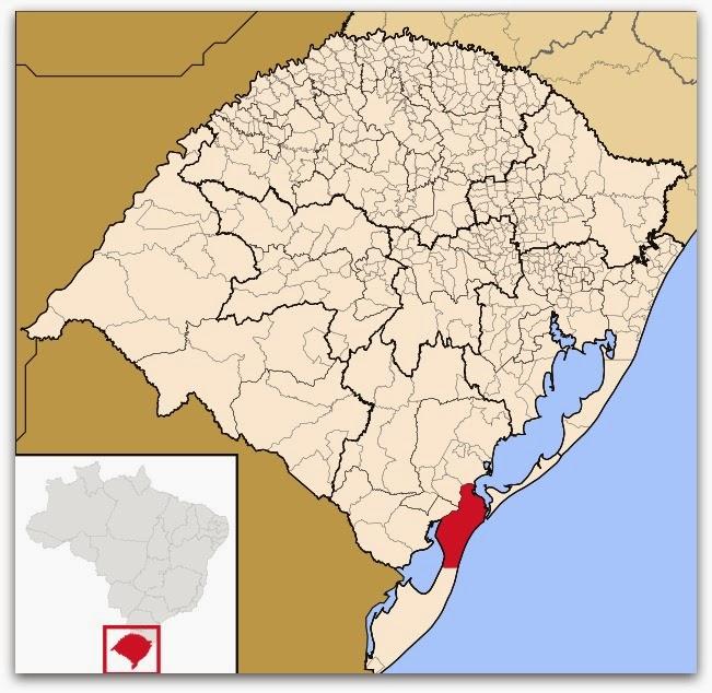 Cidade de Rio Grande, no mapa do Rio Grande do Sul