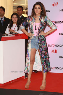 Parineeti Chopra store launch of H and M Noida in denim shorts and floral cape by H and M