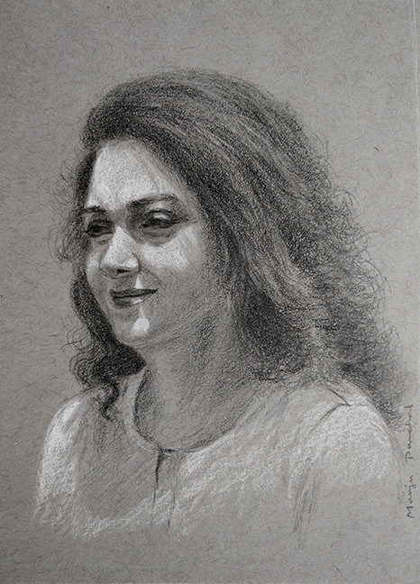 Portrait study of an indian woman created using graphite pencil portrait study graphite pencil drawing on strathmore gray toned paper