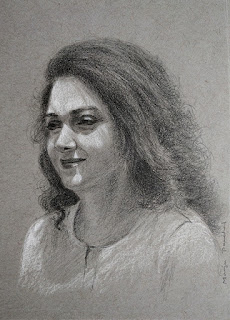 Portrait study of an Indian woman created using graphite pencil.