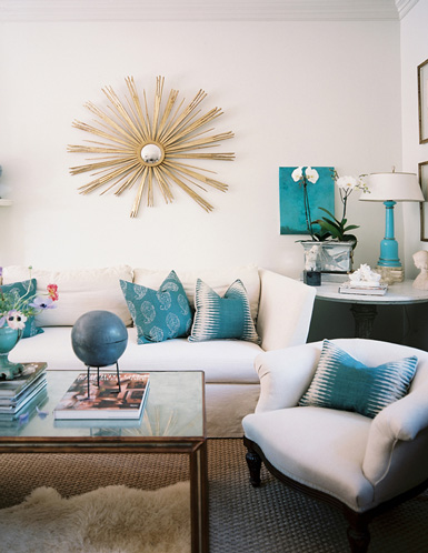 White Gold And Teal Living Room