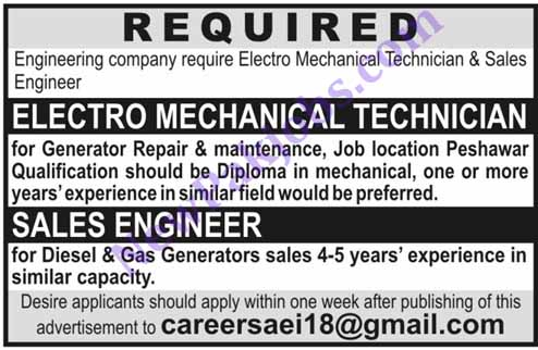 Electro Mechanic Technician, Sales Manager Jobs in Peshawar