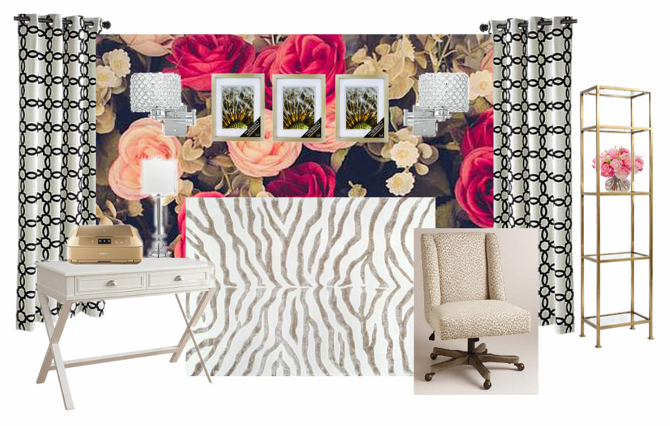 A 10x13 apartment bedroom gets a glam and girly makeover to function as both a guest room and home office. It's a room refresh full of DIY ideas for renters. Lots of gold, black and white, plus florals.