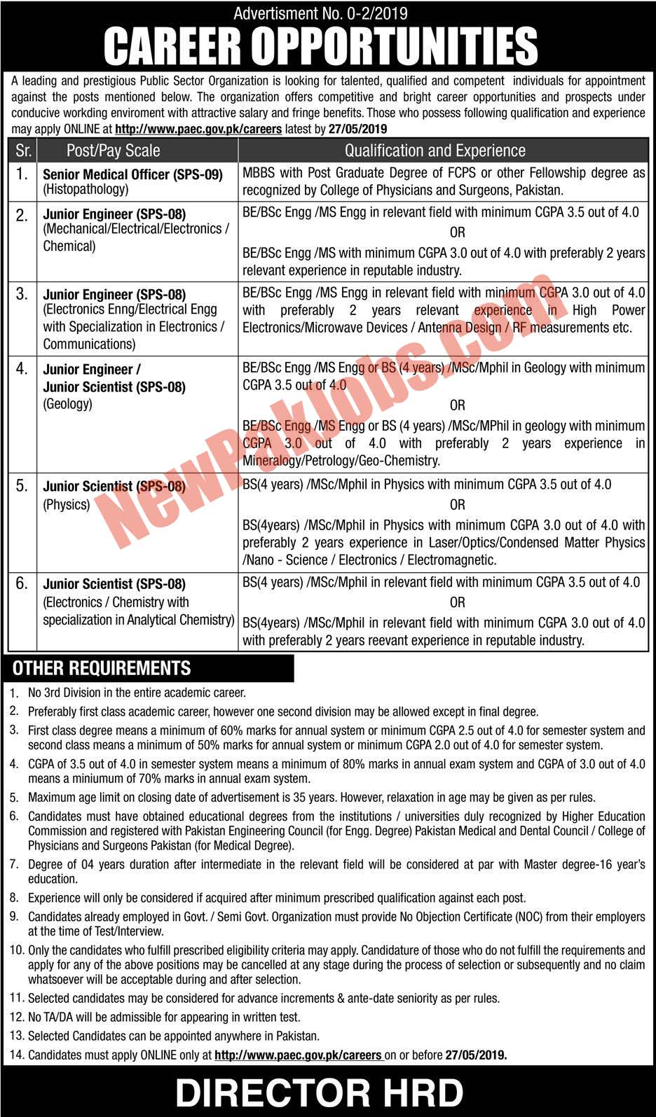 Govt Jobs in PAEC May 2019