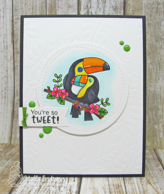 Toucan Couple Card by Holly Endress | Toucan Party Stamp Set and Tropical Leaves Stencil by Newton's Nook Designs #newtonsnook #handmade