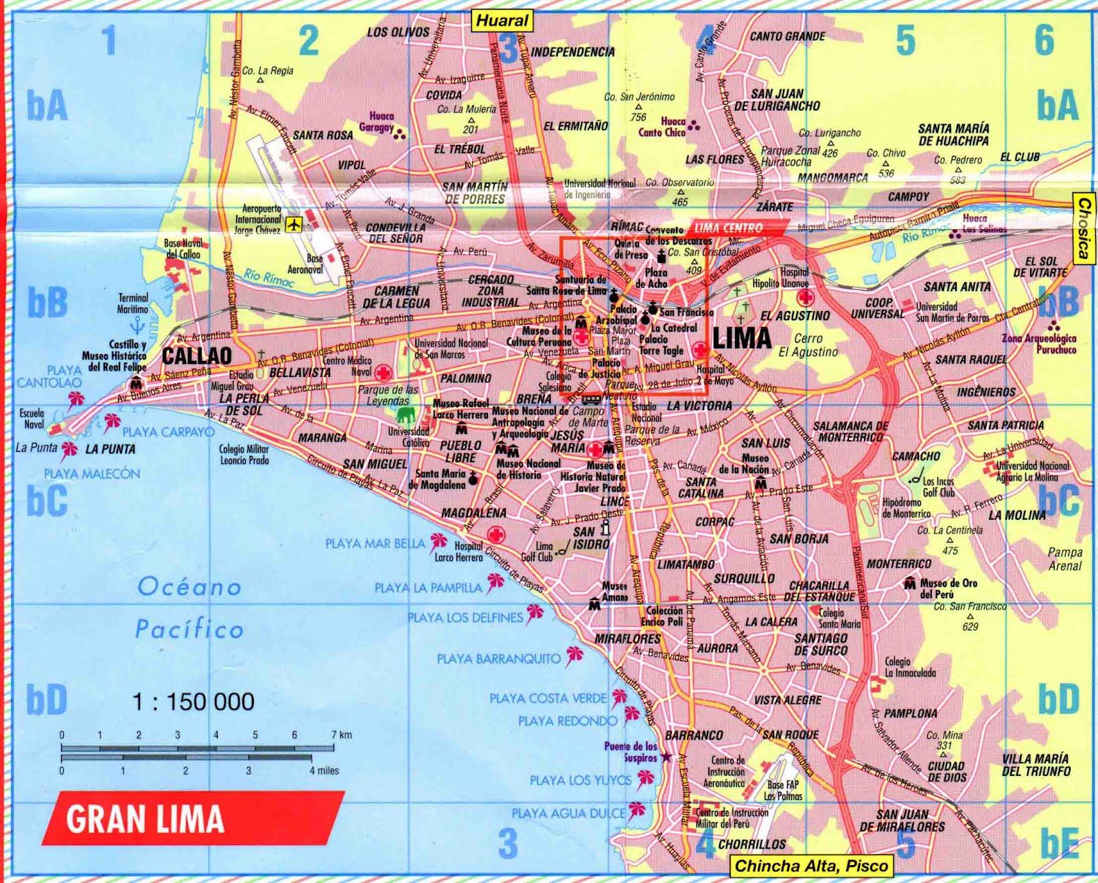 mapa do peru com cidades Mapas de Lima   Peru | MapasBlog mapa do peru com cidades