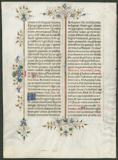 A colorfully ornamented medieval manuscript.