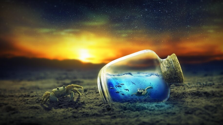 Underwater, Bottle, Digital Art, 4K, #4.2343