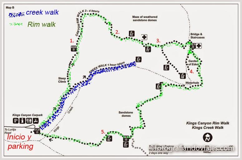 plano de caminatas por kings Canyon en Australia