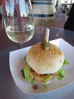 Caraway Salmon Burger with Debbie Travis Pinot Grigio