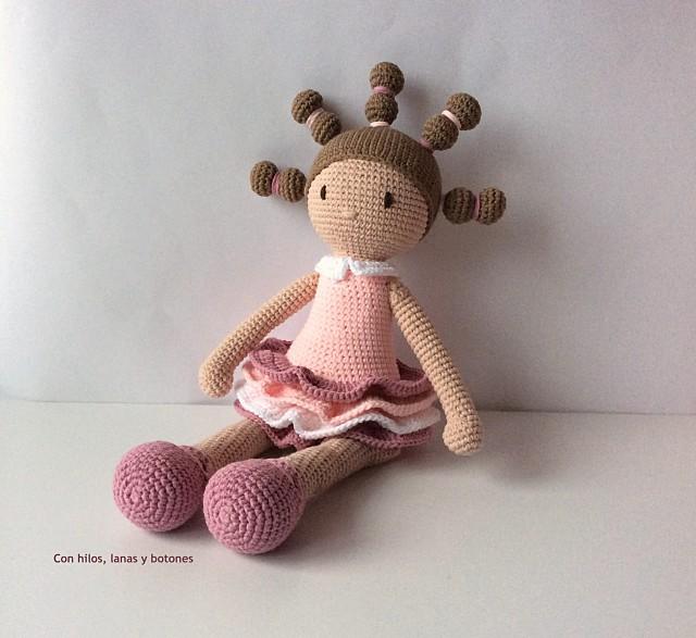 Con hilos, lanas y botones: Candice amigurumi doll (patrón de DuduToyFactory)