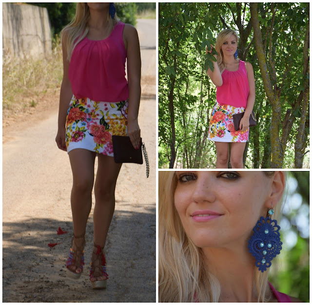 outfit top fucsia gonna stampa floreale floral print outfit mariafelicia magno fashion blogger color block by felym fashion blog italiani fashion blogger italiane blog di moda blogger italiane web influencer italiane