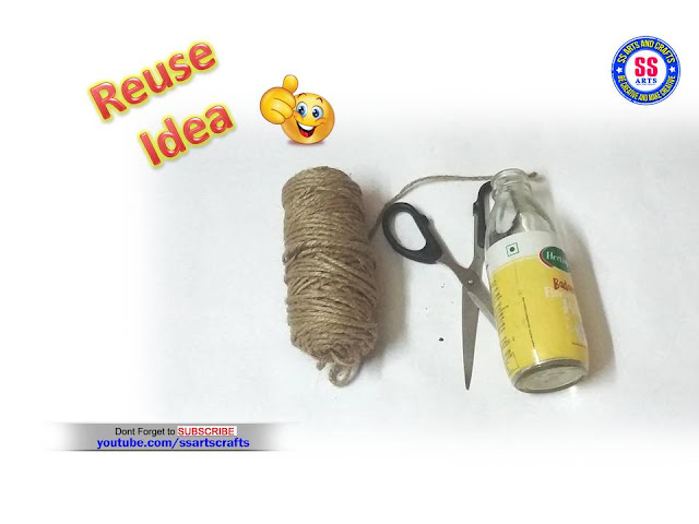 Here is Empty glass bottle craft idea,Best out of waste from Empty Glass bottle craft idea,Recycled Plastic bottle craft idea,Waste material craft ideas,How to make Empty Glass bottle craft ideas for kids,Empty Glass Bottle Decoration Ideas,Jute art&craft ideas,How to make Jute craft ideas,How to make Home decoration ideas,How to make Empty Glass Bottle&Jute Decoration idea at Home ssartscrafts nanduri lakshmi youtube channel videos