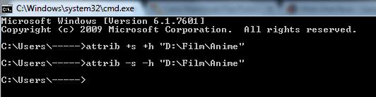 command untuk menyembunyikan folder
