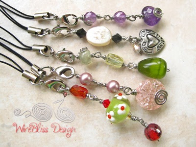 Wire wrapped handphone charms with mixture of glass beads, crystals, gemstones, pearl, Swarovski Crystal and metal charm