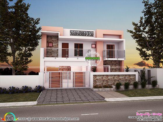 3 bedroom, 3029 sq-ft modern flat roof house