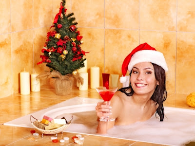 woman in a bath with christmas theme