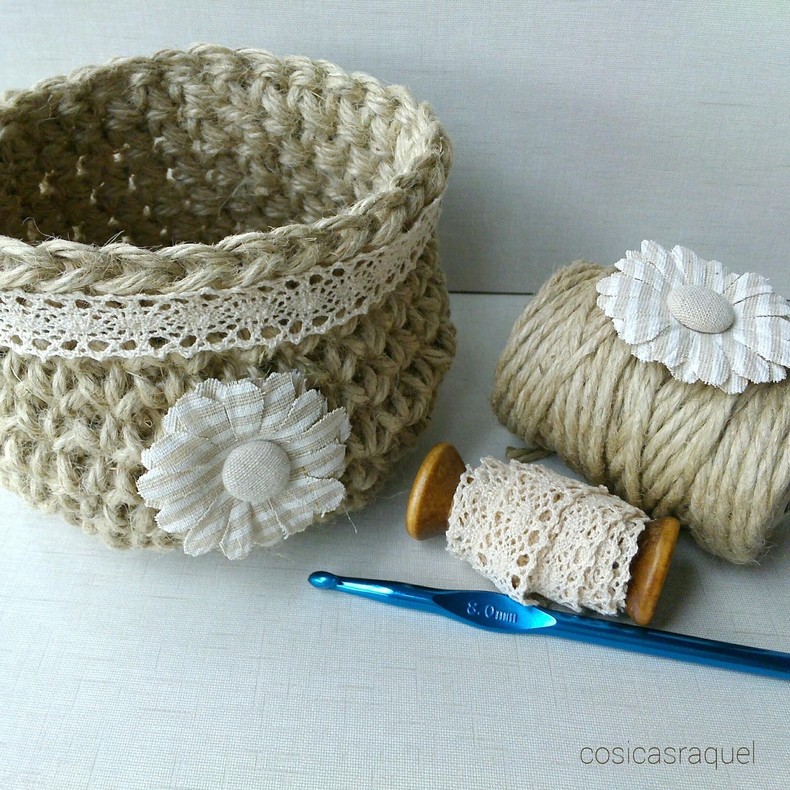 cosicasraquel: Patrón Cesta de Cuerda a Crochet