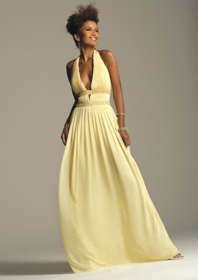 316707b1cadd Brud~ Bal och Festklänningar : Ljusgul vacker balklänning med öppen rygg
