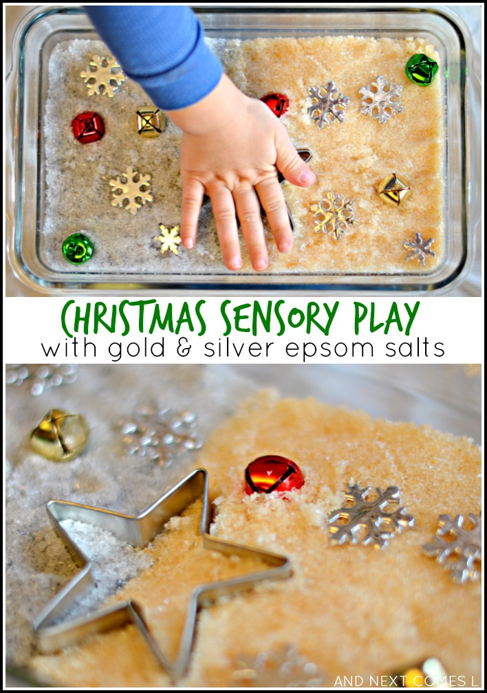 Christmas sensory play with gold & silver epsom salts from And Next Comes L