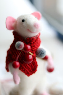 Hand felted Christmas Mouse