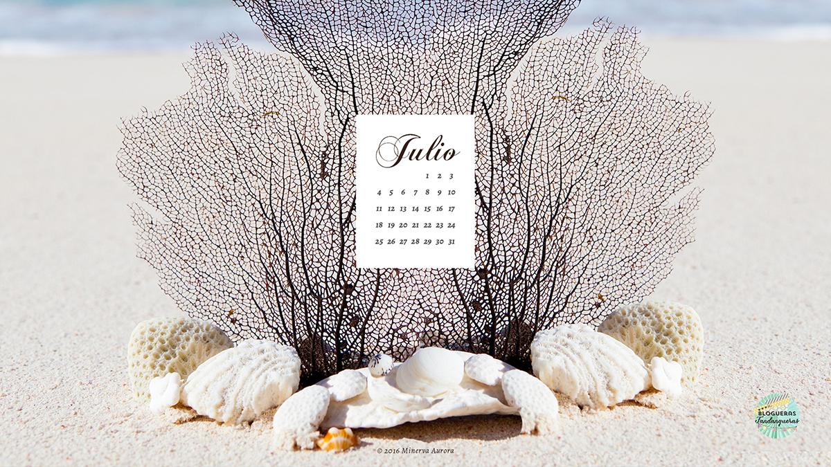 fondo de pantalla con calendario julio