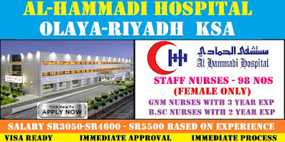 STAFF NURSE VACANCY IN  AL-HAMMADI HOSPITAL,OLAYA-RIYADH