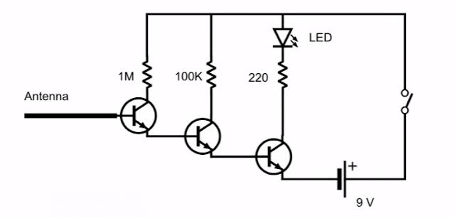 الدائرة الالكترونية لحساس ومستكشف خط الكهرباء