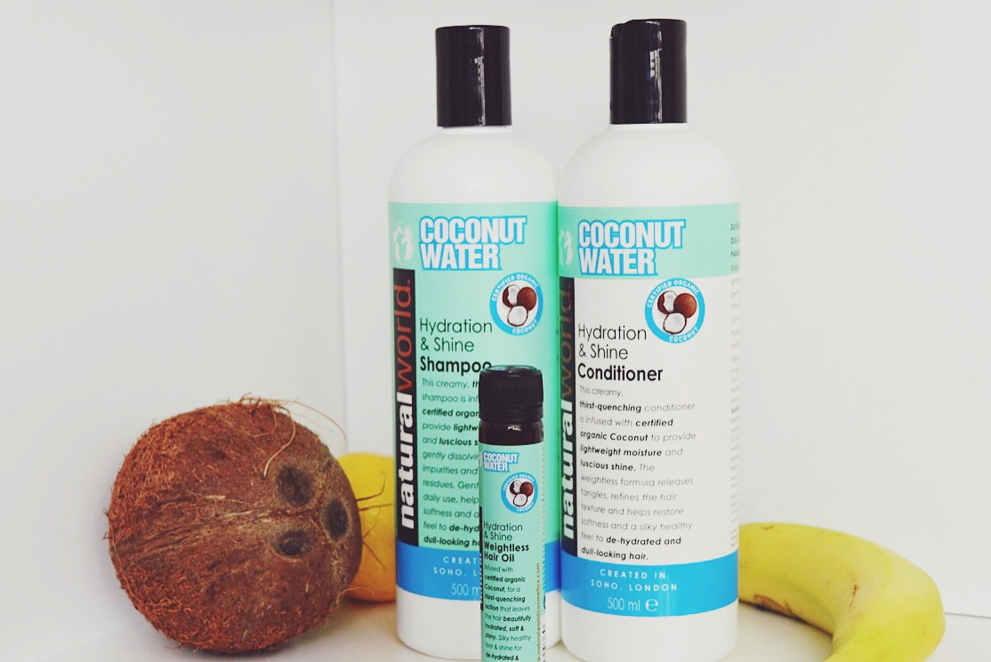 Natural World Coconut Water hair care review, FashionFake, beauty bloggers