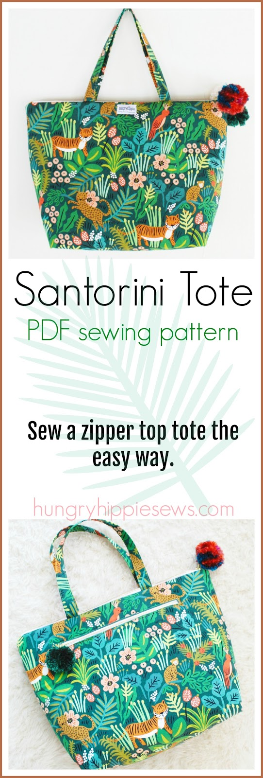 sewhungryhippie: Santorini Tote sewing pattern - easy to sew zipper ...