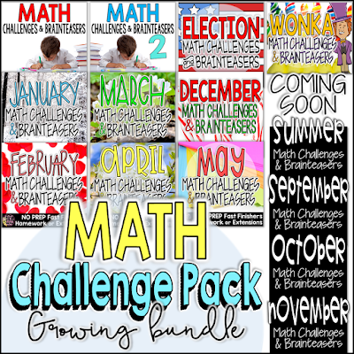 The Math Challenge & Brainteaser Growing Bundle includes EVERY Math Challenge & Brainteaser Product in my store! The math printables (292 included so far!) in this pack are perfect for fast finishers, homework, centers, math groups, enrichment contracts, morning work, or whole class problem solving!