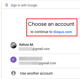 choose google account