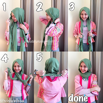 tutorial memakai pashmina simple style3