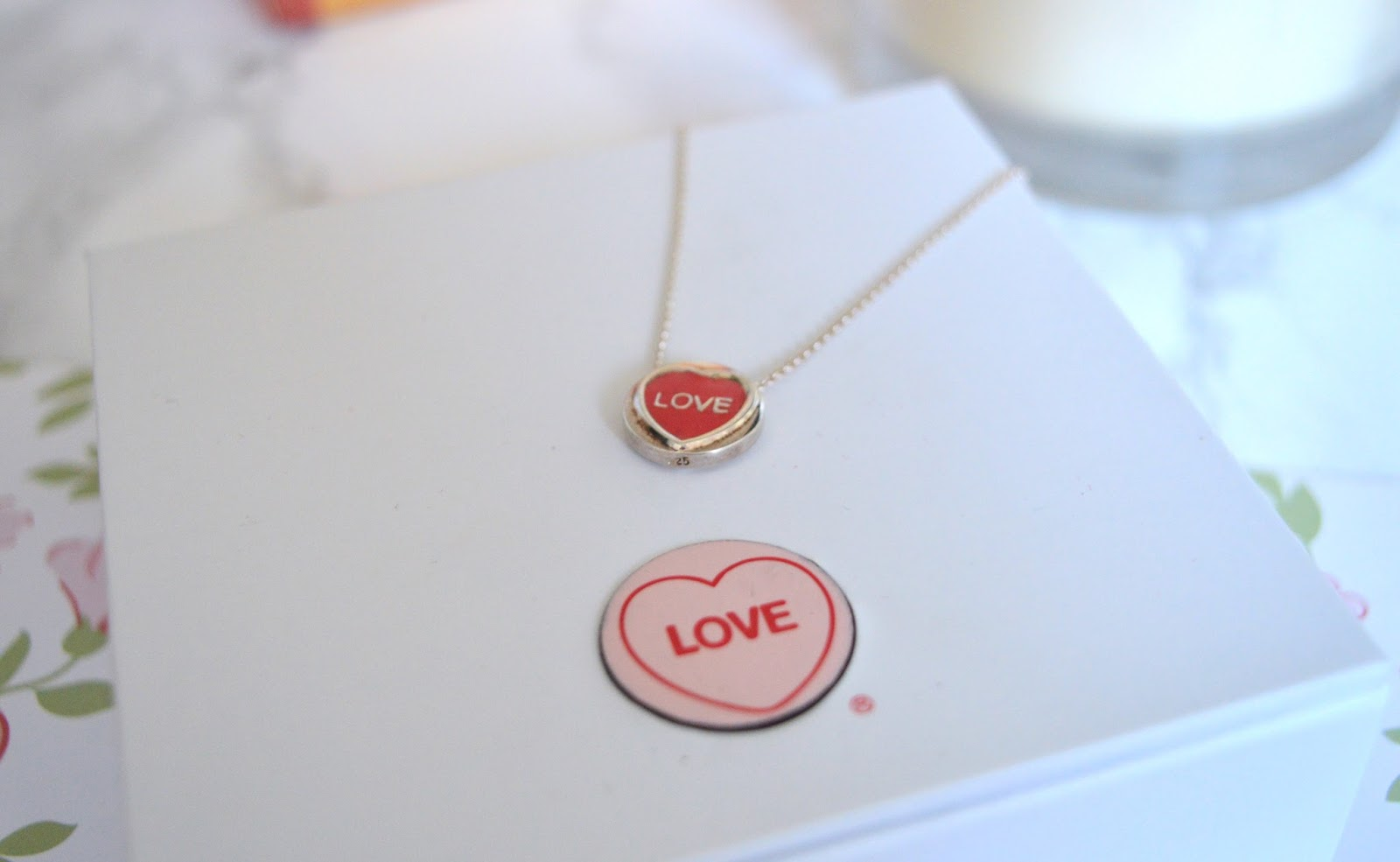 Engraved Red Mini Love Heart Necklace