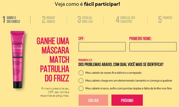 PROMOÇÃO BOTICÁRIO MATCH WWW.ANTESDOS30.COM