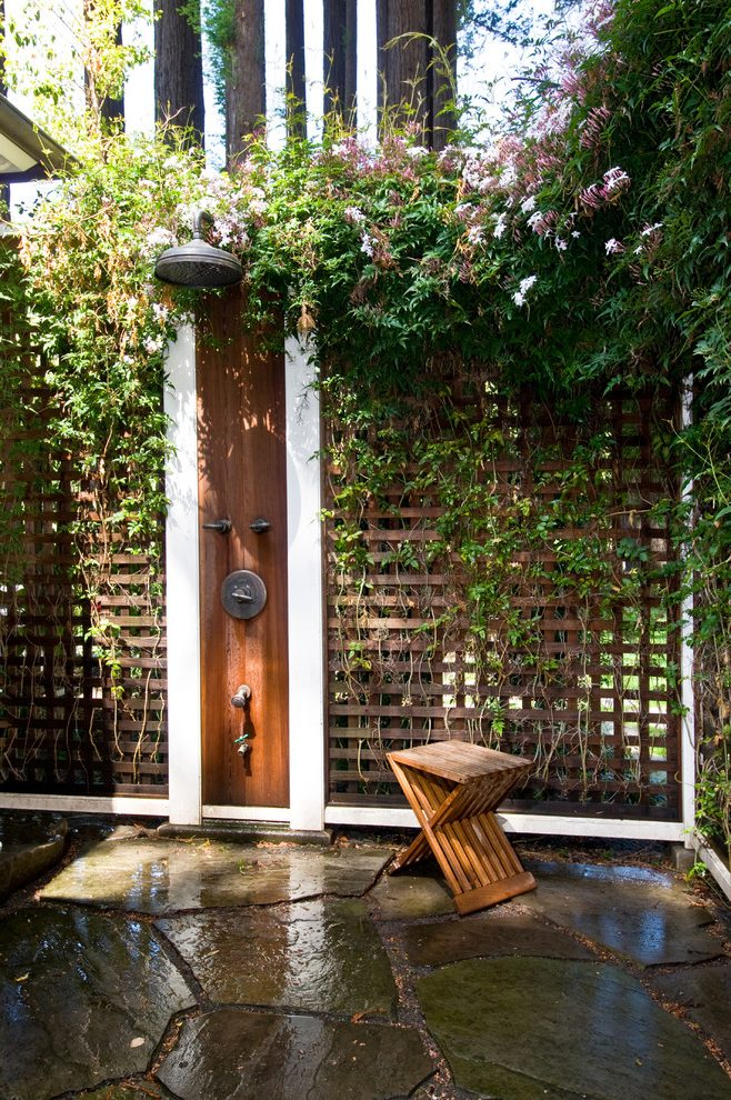 terraces-with-plants-outdoor-shower-enclosure-ideas