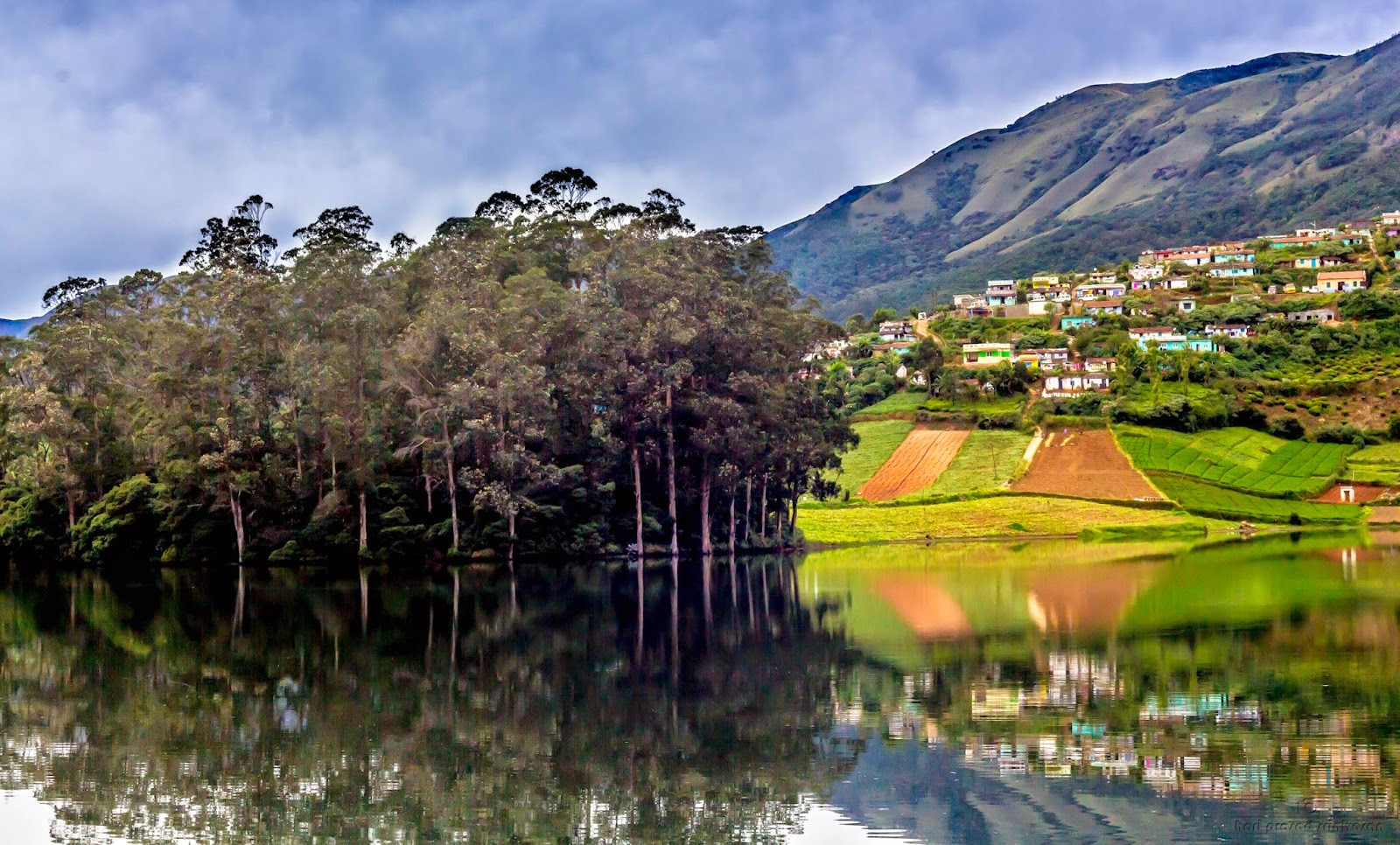 Landscape photo near Avalanche lake Ooty with a mountain in the background and houses on the slope. Lake in the foreground.