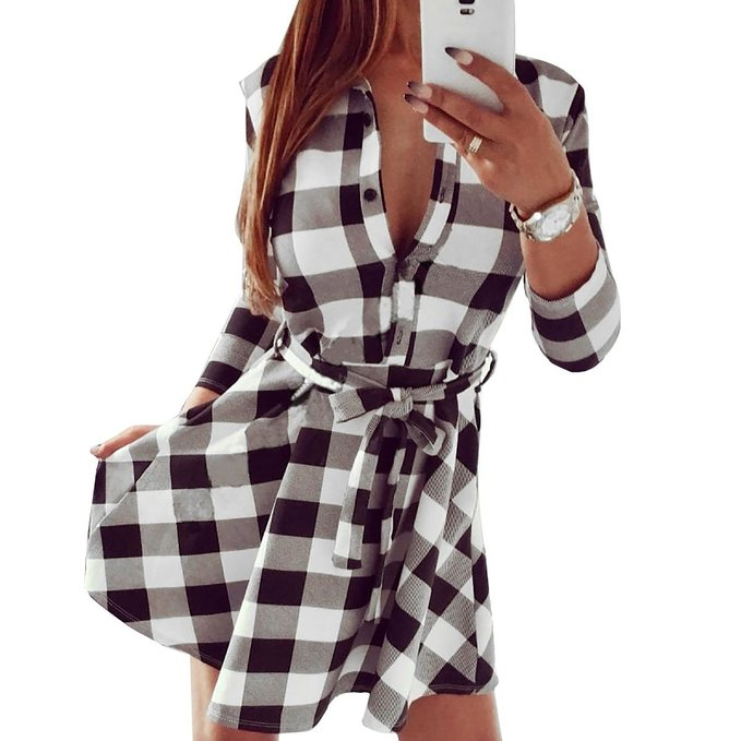 619ace0c44 I was thrilled when Fancyinn Direct sent me the black and white plaid shirt  dress. Not only is it fashionable
