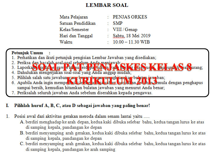 Soal Dan Kunci Jawaban Pat Penjaskes Smp Kelas 8 Kurikulum 2013