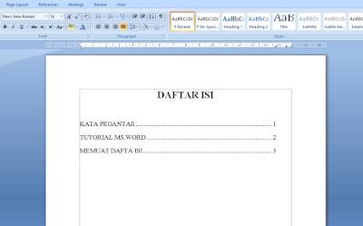Cara Membuat Daftar Isi dengan Titik-Titik Otomastis di Word 20