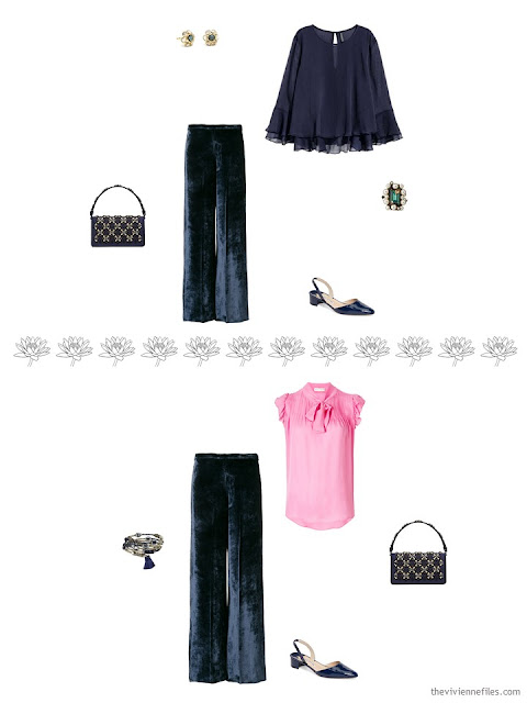 2 ways to wear a pair of navy velvet pants