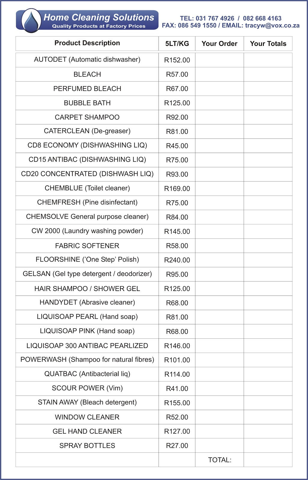Home Cleaning Solutions Price List Amp Order Form