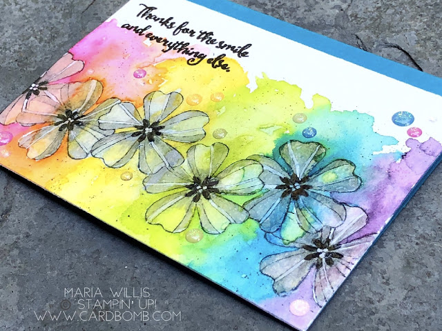 #cardbomb, #mariawillis, #stampinup,  #video, #videotutorial, #stamparatus, #stamping, #ink, #paper, #papercraft, #flowershop, #techniques, #masking, #watercolor, #stampinblends, #rainbow, #handmade, #diy, #color, #creative, #crafty, #cards,