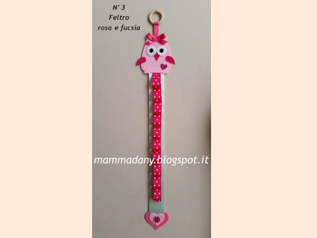 porta cerchietto gufetto bambina in feltro rosa e gomma rosa n°3 con fiore