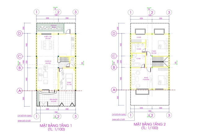 Mặt bằng tầng 1 - 2 biệt thự Rose Villa - EuroWindow River Park