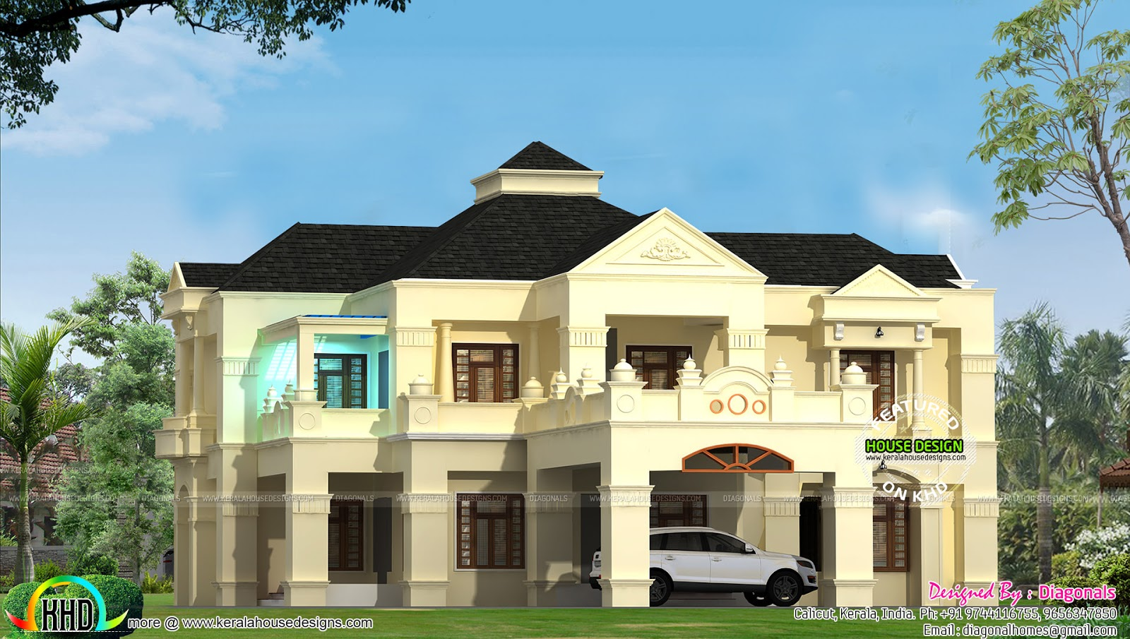 Colonial style 4500 sq ft home design kerala home design for Colonial style house plans kerala